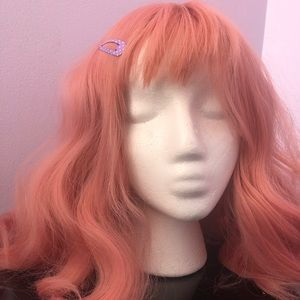 Kawaii Pink medium length wig with bangs